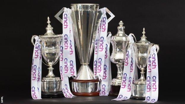 The four SPFL league trophies