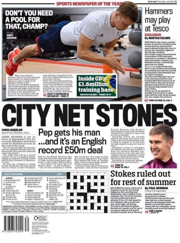 John Stones Daily Mail