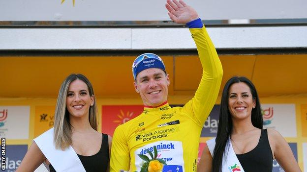 Fabio Jakobsen celebrates victory in the opening stage of the Volta ao Algarve in February