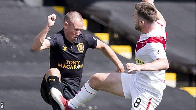Livingston's Kenny Miller is fouled by Grant Gallagher