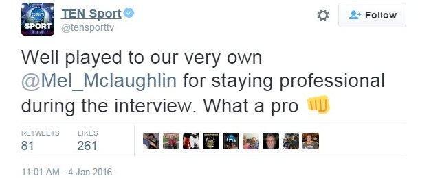 Chris Gayle asks interviewer Melanie McLaughlin on a date