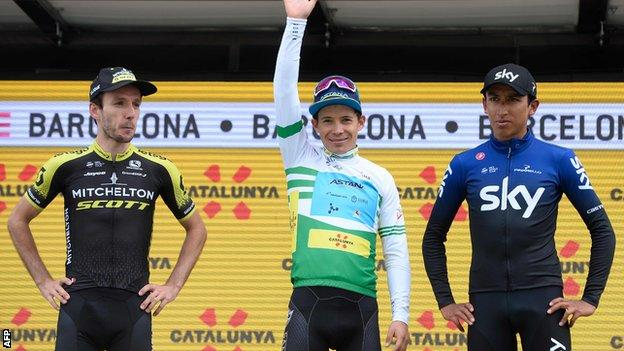 Miguel Angel Lopez celebrates victory