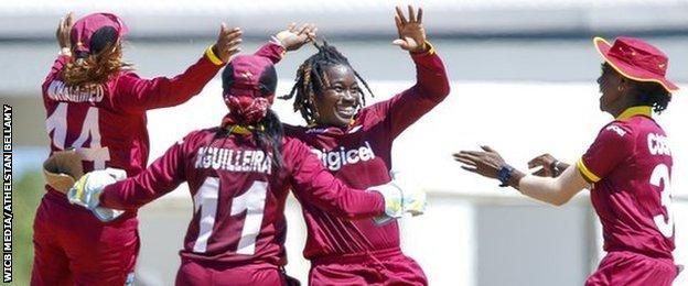 West Indies celebrate a wicket