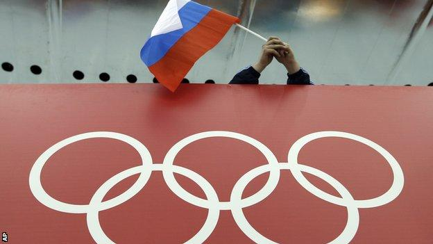 Russia flag at the Olympics