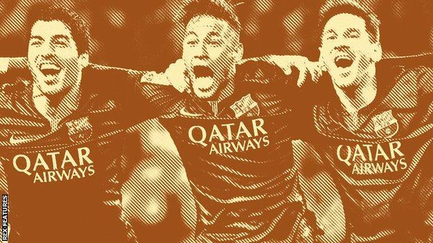(left to right) Luis Suarez, Neymar and Lionel Messi