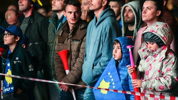 Kosovo football fans in Pristina