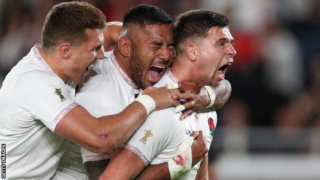 Ben Youngs celebrates with Manu Tuilagi and Henry Slade