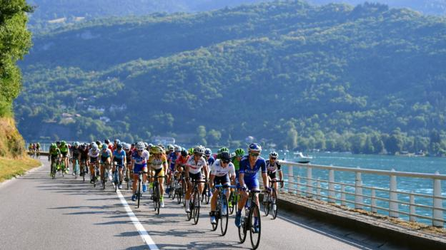 LE GRAND BORNAND, FRANCE - JULY 17: Rushlee Buchanan of New Zealand and Team UnitedHealthcare Women / Malgorzta Jasinska of Poland and Movistar Team / Eri Yonamine of Japan and Team Wiggle High5 / Peloton / during the 5th La Course 2018 - by Le Tour de France a 112,5km women's race from Annecy to Le Grand Bornand 943m on July 17, 2018 in Le Grand Bornand, France. (Photo by Justin Setterfield/Getty Images)