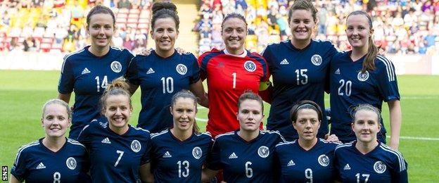 Scotland Women line up before a match against the Faroe Islands at Fir Park last year