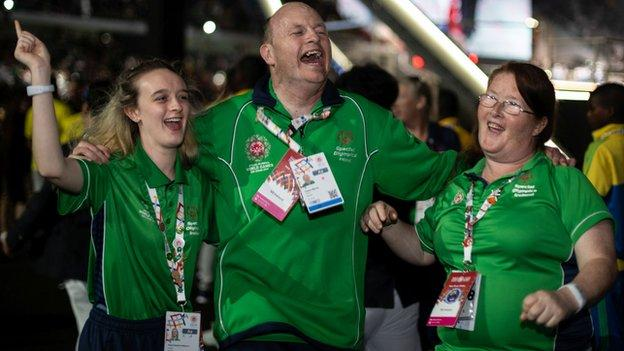 Team Ireland competitors enjoying themselves on day two of the Special Olympics