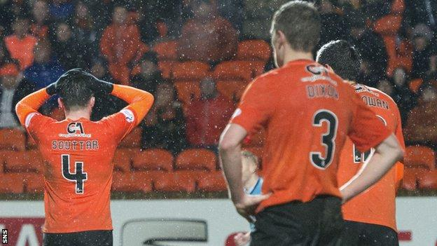 Dundee United players are left shattered by defeat