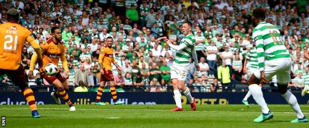 Callum McGregor scores for Celtic against Motherwell