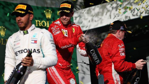 Lewis Hamilton, Sebastian Vettel and Kimi Raikkonen