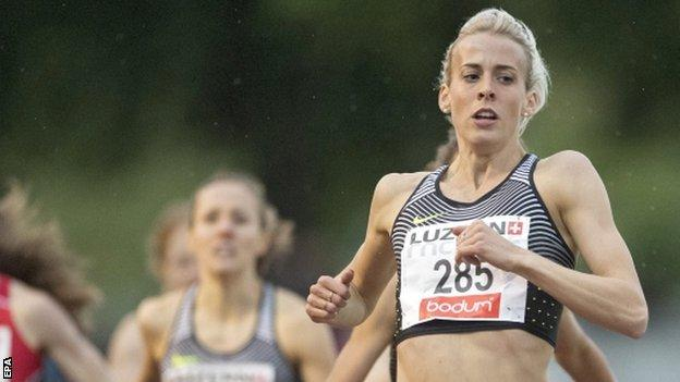 Lynsey Sharp competes in an 800m race in Lucerne