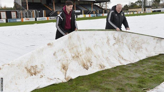 Carrick's pitch after the postponement of the County Antrim Shield semi-final against Linfield on 1 December
