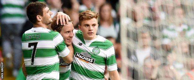 Stefan Johansen (centre) doubled Celtic's lead on 56 minutes
