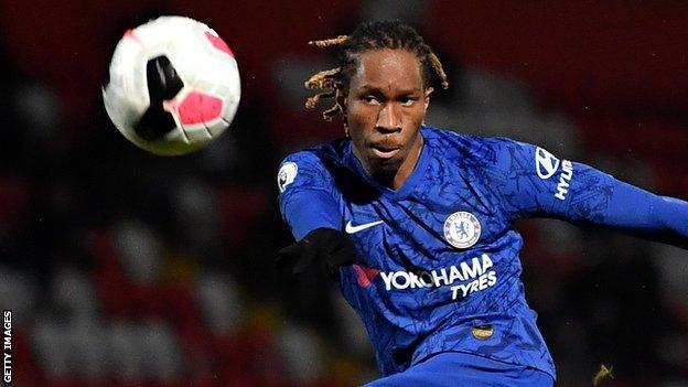 Tariq Uwakwe in action for Chelsea's Under-23 side