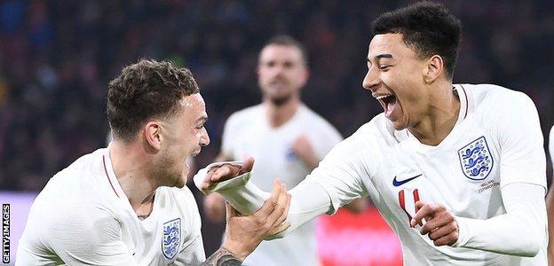 Jesse Lingard celebrates scoring for England against the Netherlands