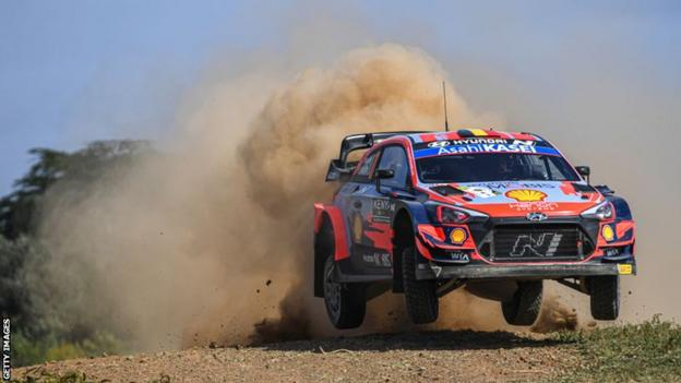 Belgian driver Thierry Neuville in action at Kenya's Safari Rally