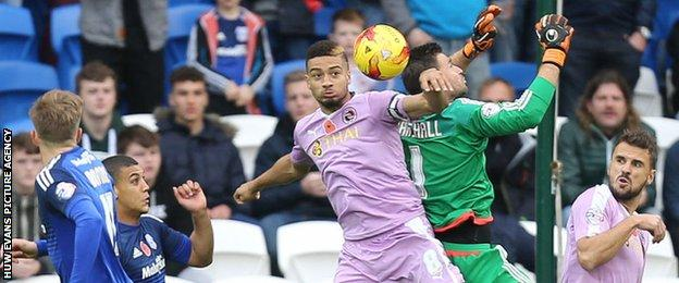David goalkeeper in action for Cardiff in the 2-0 win over Reading