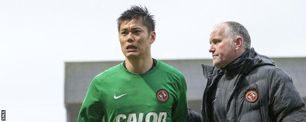 Dundee United goalkeeper Eiji Kawashima (left) looked disappointed at the final whistle