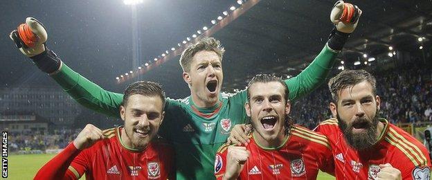 Wales stars celebrate in Zenica
