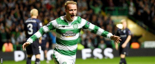 Leigh Griffiths celebrates after scoring for Celtic against Malmo