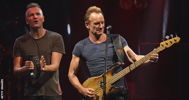 Sting (r) and his son, Joe Sumner