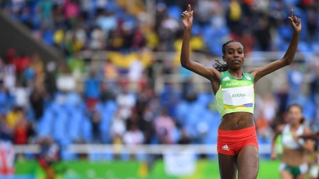 Almaz Ayana celebrates winning the Women's 10,000 Meters Final