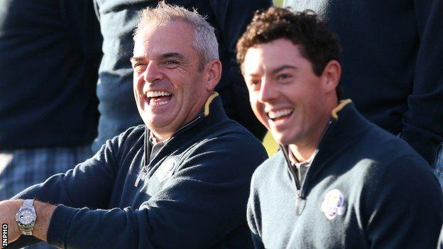 Paul McGinley with Rory McIlroy at the 2014 Ryder Cup