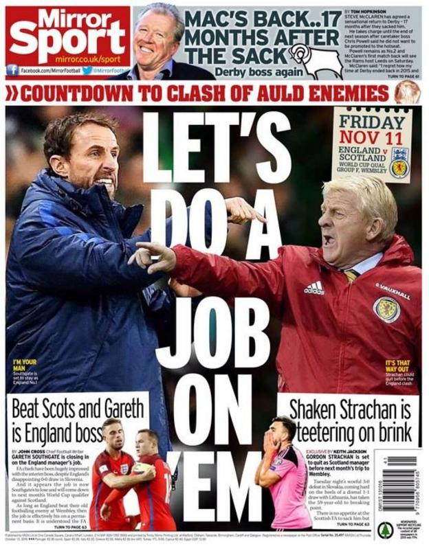Daily Mirror back page 13 October