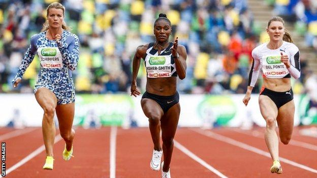 Dina Asher-Smith winning the women's 100m at the FBK Games in 2021