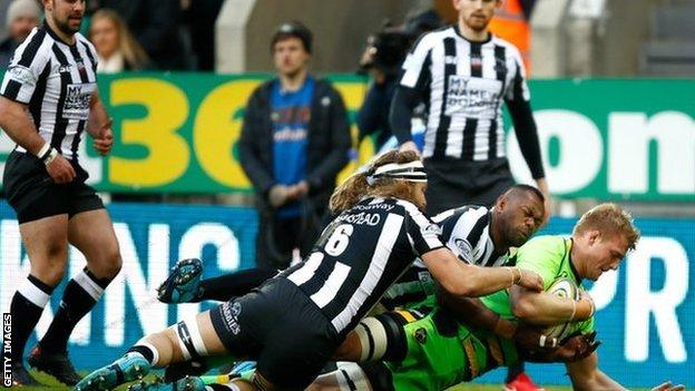 Northampton flanker David Ribbans had the honour of scoring the first try in a rugby union club game at St James' Park
