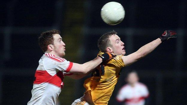 Derry's Oisin Hegarty and Antrim's Odhran Eastwood