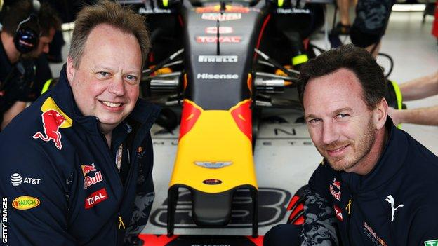 Aston Martin CEO Andy Palmer with Red Bull team principal Christian Horner