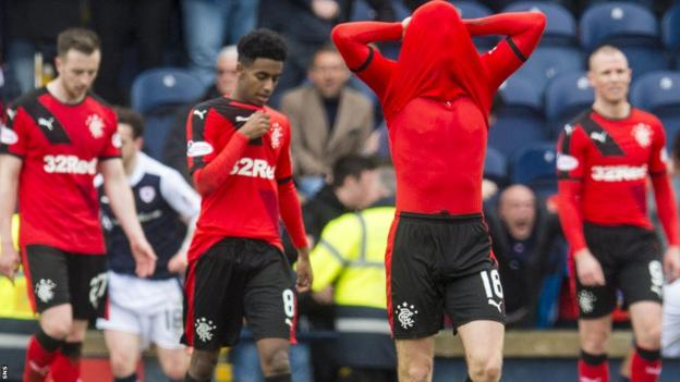 Rangers' Andy Halliday shows his disappointment