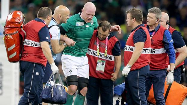 Ireland skipper Paul O'Connell's international career came to an end when he limped out of the Rugby World Cup match against Italy. The Irish won to qualify for the quarter-finals but were then beaten 43-20 by Argentina