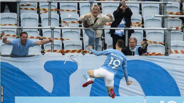 Veljko Birmancevic celebrates his goal for Malmo