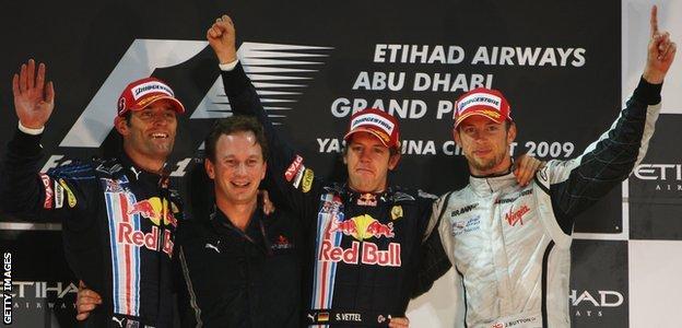 Sebastian Vettel celebrates winning the 2009 Abu Dhabi Grand Prix
