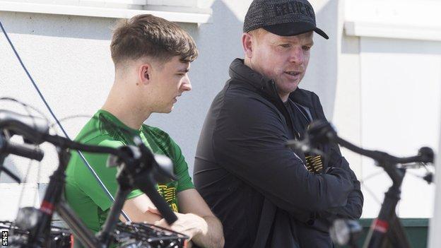 Celtic's Kieran Tierney and Neil Lennon