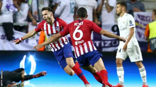Atletico Madrid's Saul and Koke celebrate