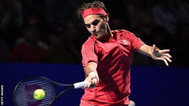 Roger Federer at the Swiss Indoors