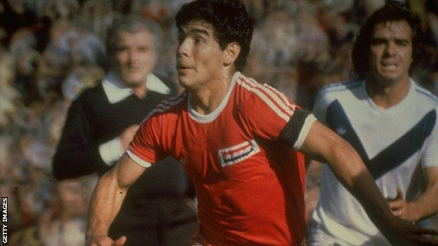 Diego Maradona playing for Argentinos