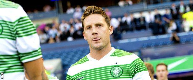 Kris Commons walks out at Murrayfield for Celtic in a Champions League qualifier in 2014