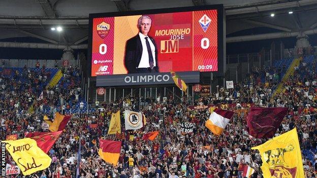 Big screen at Roma shows Jose Mourinho