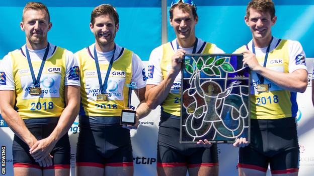 John Collins, Jonny Walton, Graeme Thomas and Tom Barras delivered a men's quadruple sculls win for Great Britain in Lucerne