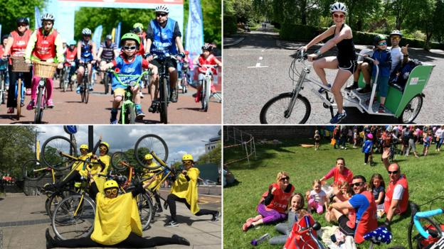 Scenes from the 2018 Let's Ride event in Cardiff