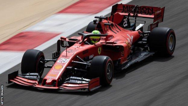 Mick Schumacher testing the Ferrari F1 car