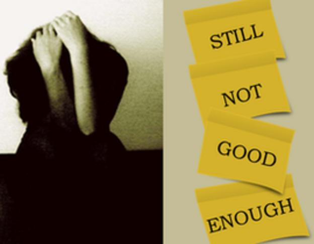a girl feeling that she is still not good enough