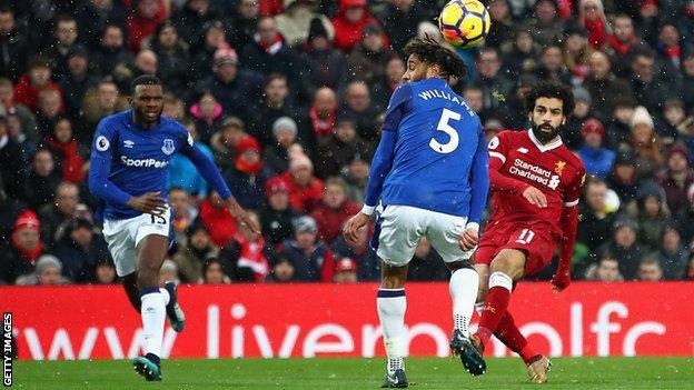 Mohamed Salah scores against Everton